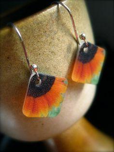 sunflower earrings - plastic wearable art - shrinky dink jewelry. $14.00, via Etsy.