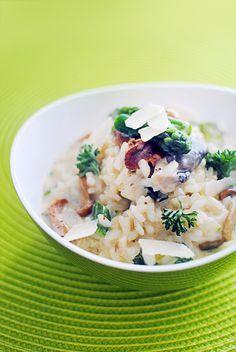 Risotto aux champignons forestiers et asperges vertes  StellaCuisine.com