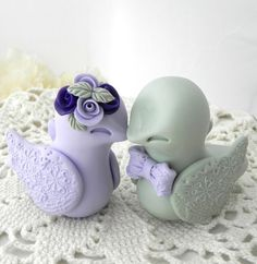 Love Birds Wedding Cake Topper Lilac Purple and Sage Green