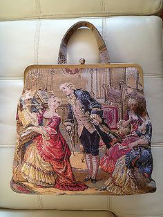 Back View Vintage Provincial Tapestry Purse