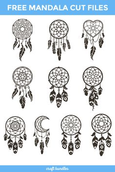 Go all out in experimenting and creating with these 100 lovely cut-files of all different designs for your crafty projects! It is absolutely FREE until December As with all our weekly freebies, our Complete License comes included, at no extra cost. Dream Catcher Patterns, Dream Catcher Art, Dream Catcher Tattoo, 3d Cuts, Free Stencils, Scan And Cut, Cricut Creations, Vinyl Crafts, Svg Files For Cricut