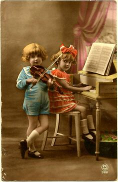 c.1907 Antique ORIGINAL OOAK Hand Tinted Art Nouveau French Postcard / Gorgeously Dressed Rich Children & their Toy Piano or Student-sized Piano / P.C. Paris, 366
