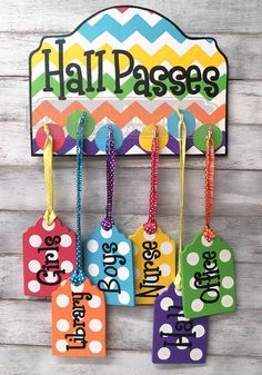 Hall Passes Sign for Classroom Multi-color by SparkledWhimsy