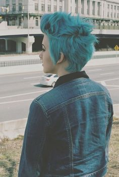 Blue Faux Pixie hawk