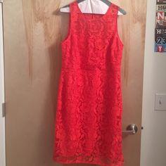 Jcrew shift dress- poppy red Lace shift dress from jcrew. Sheer yolk panel , hidden zipper in back. J. Crew Dresses Midi