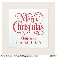 Merry Christmas Vintage Red Typography Family Name Napkin - tap, personalize, buy right now! Chalk Typography, Typography Tutorial, Typography Alphabet, Hand Lettering Tutorial, Vintage Typography, Typography Prints, Typography Design, Christmas Paper Napkins, Christmas Crafts