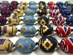 fabric bead necklace from recycled ties