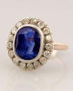 Antique diamond and saphire ring circa 1900