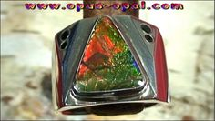 Sterling Silberring mit großem Top Ammolith 2,91 ct und schwarzen Diamanten