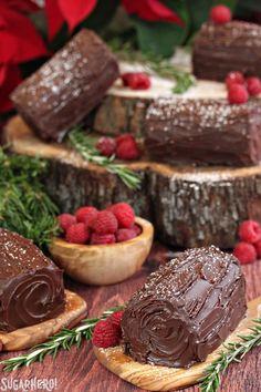 Mini No-Bake Buche de Noel - easy chocolate raspberry cakes for the holidays. No baking, no fuss! | From SugarHero.com