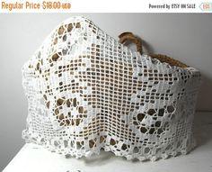 Crochet dresser curtain. White cotton. by frenchvintagedream