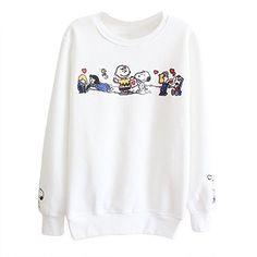 SODIAL (R) Corea mujeres Casual sueter de impresion vellon pulover suelta sudadera Tops - Blanco Snoopy Sueter