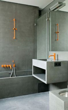 .Orange? maybe with concrete :) Bathrooms