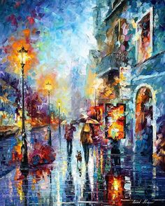 """Oil Painting - """"Melody Of Passion"""" Click on the link in my profile to get this painting #art #painting #lovely #afremov #art_spotlight #arts_help #artfido #artist #colorful #melody #city #rain #passion #people #weekend #mizu_arts_helps #Artdesires #mizu_art #artistic_unity_ #artstagrams #artistuniversity #artistic_support"""