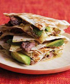 Skirt Steak Quesadillas w/ mozz cheese, avacado slices, flour tort. & tomatillo sauce