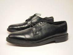 1960s FREEMAN Vintage Black Grain Plain-toe BLUCHERS Shoes Men's 10 B #Freeman #Oxfords