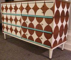 Vintage Modern Hand Painted Dresser   original concept & design. Retro Credenza. SOLD.