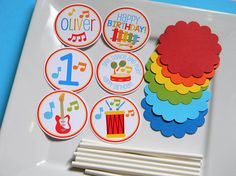 Music Birthday Party Personalized DIY Cupcake Topper Kit