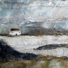 'Solitude' by Louise O'Hara Art Landscape Drawings, Landscape Illustration, Abstract Landscape, Textiles, Painting Collage, Paintings, Building Painting, Textile Fiber Art, Encaustic Art