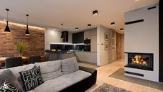 Long Narrow Living Room with Fireplace In Center . Long Narrow Living Room with Fireplace In Center . Home, House Styles, Narrow Living Room, Brick Living Room, Living Room With Fireplace, Apartment Design, House Interior, Home Deco, Apartment Interior