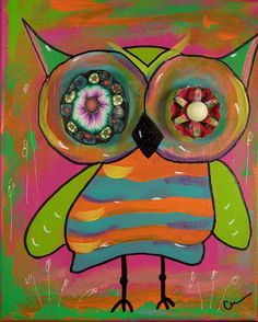 Original acrylic hoot owl painting on canvas. Owl Wallpaper, Owl Canvas, Owl Bags, Whimsical Owl, Owl Pictures, Felt Owls, Art Journal Inspiration, Art For Kids, Folk Art