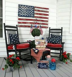 Patriotic porch. Rocking chairs. American Flag.
