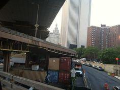 Under the Brooklyn Bridge on the Manhattan Side.