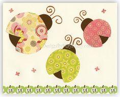 Nursery Wall Art Baby Room Decor LadybugTrio by DesignByMaya, $17.00