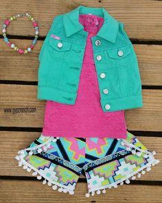Kids - Miss Elite Neon Tribal Shorts School shop here www.gypzranch.com