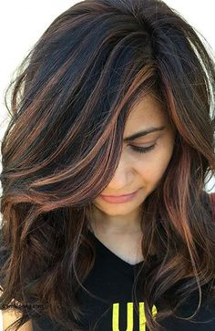 25 Ideas Hair Color Ideas For Brunettes Balayage Dark Ombre For 2019 Black Hair With Highlights, Hair Color Highlights, Hair Color Balayage, Hair Colour, Copper Highlights, Brown Balayage, Blonde Balayage, Platinum Highlights, Caramel Balayage