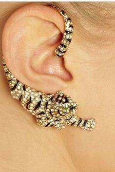 CHIQ | Gold-plated Swarovski crystal cuff-style tiger earrings Roberto Cavalli