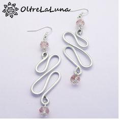 Orecchni pendenti in alluminio e pietre sfaccettate rosa antico, by Oltrelaluna, 8,00 € su misshobby.com