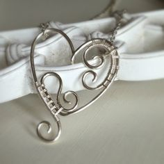 wire wrapped spiral heart pendant - handmade heart necklace (2)