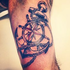Anchor Tattoo With Ship Steering Wheel