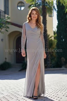 V-neck Jade Chiffon & Lace with Stretch Lining MOB Dress Mother Of The Bride Looks, Mother Of The Bride Dresses Long, Mothers Dresses, Mob Dresses, Event Dresses, Bridal Dresses, Jasmine Bridal, Plus Size Gowns, Bridal Dress Design