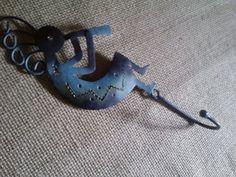 Dancing Kokopelli Metal Art wall Hook