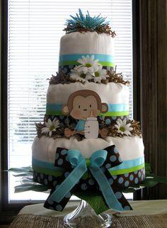 Monkey Baby Shower - diaper cake