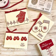I love Stampin' Up!'s new #smittenmittens  stamp set and #manymittens framelits dies from holiday catalog 2017. スタンピンアップジャパンではスミッテンミトン・スタンプセットとメニーミトン・フレームリッツダイの先行販売が8月1日からはじまります❤️#stampinup #stampinupjapan #akemigeary #everydaystamping #quickandeasy #cleanandsimple #ribbon #gifttag #holiday2017 #cardmaking #papercraft #アメリカ#スタンピンアップ #スタンピンアップジャパン #手作りカード#ペーパークラフト#三重県桑名市#桑名市 #習い事 #クリスマスカード手作り #ギフトタグ Christmas Cards 2017, Stamped Christmas Cards, Christmas Tag, Xmas Cards, Handmade Christmas, Holiday Cards, Christmas Crafts, Card Sentiments, Stamping Up Cards