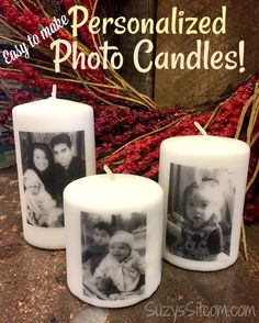 DIY Personalized photo candles perfect for wedding gifts or bridal shower gifts Suzy's Artsy Craftsy Sitcom. Diy Photo, Photo Craft, Mothers Day Crafts For Kids, Diy Mothers Day Gifts, Cousin Gifts, Photo Candles, Diy Candles, Ideas Candles, Candle Craft