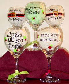 Great wine glasses for the holidays from Winey Girl, LLC. Wine Glass Sayings, Wine Glass Crafts, Wine Craft, Wine Bottle Crafts, Wine Bottles, Sayings For Wine Glasses, Bottle Art, Diy Wine Glasses, Decorated Wine Glasses