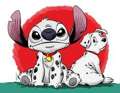 Parody Fan Art of Stitch from Lilo & Stitch - Dressed as 101 Dalmations Lilo Ve Stitch, Lelo And Stitch, Disney Stitch, Cute Disney Wallpaper, Cute Cartoon Wallpapers, Stitch Drawing, Frida Art, Cute Stitch, Stitch Cartoon