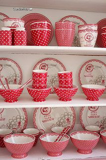 red and white polka dot dishes