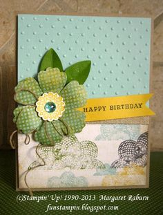 """Fun Stampin' with Margaret! Birthday card using SU's new """"This and That""""  Epic Day designer paper! A Round Array flower center, 1-7/8"""" Scallop Punch and Blossom Punch. """"This and That"""" line of products is really fun and includes a journal, date stamp, washi tape and more!"""