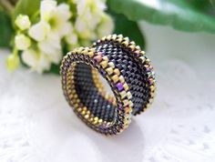 Black and Gold Ring, Black Ring, Beaded Ring, Dreadlock Bead, Statement Ring… Beaded Jewelry Designs, Seed Bead Jewelry, Bead Jewellery, Handmade Rings, Handmade Jewelry, Beaded Rings, Beaded Bracelets, Dreadlock Beads, Bracelets