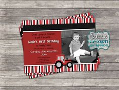 "Printable Red Tractor Birthday Invitation ""Start your tractor"" boys invite, digital file or prints by DazzleDesignGraphics"