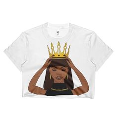 Crown Me Sublimation Ladies Crop Top. A super soft crop top for ladies with edgy style.  • Available in sizes S-XL • 100% polyester construction • Made in the USA • Light, soft material