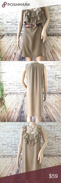 b29acd3796 ... Taupe Silk Ruffle Dress Size M In EUC with no visible flaws