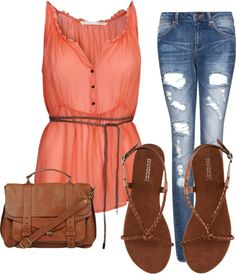 coral sheer chiffon sleeveless, denim, brown sandals saddle bag leather tie belt