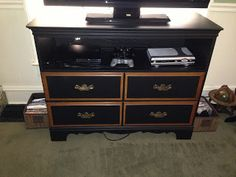 A Little Lady with Tools... Thrift Store Gold... Dresser repurposed into TV Stand