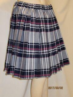 Maroon Gray Heavy Pleated Skirt Elastic Waistband~